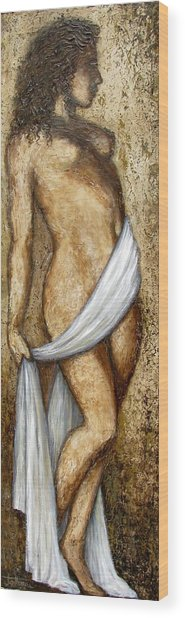 Nude Woman Standing Wood Print by Judy Merrell