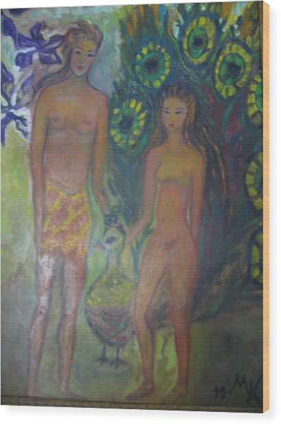 Nudes Elation Wood Print by Maria  Kolucheva