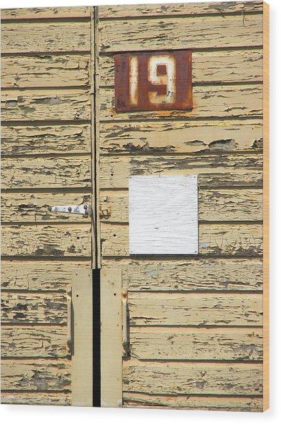 Number 19 Wood Print