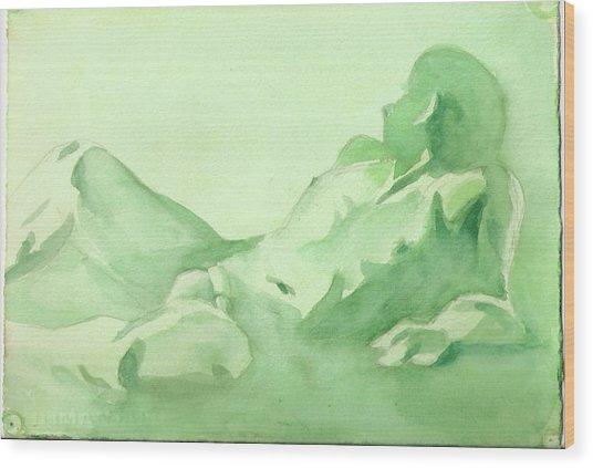 Number 88    Figure Of The Artist Wood Print by Ken Daugherty