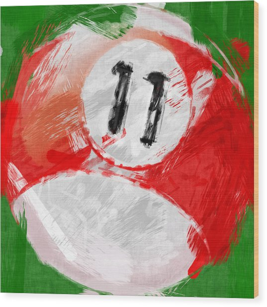 Number Eleven Billiards Ball Abstract Wood Print