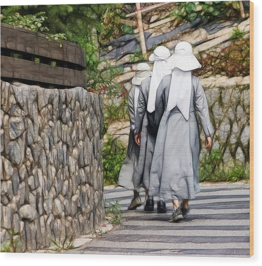 Nuns In A Row Wood Print
