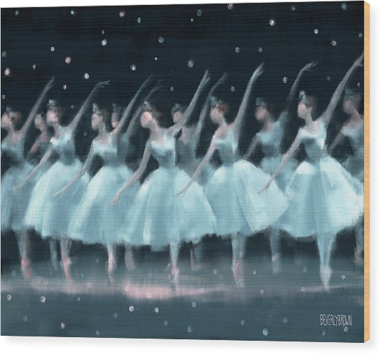 Nutcracker Ballet Waltz Of The Snowflakes Wood Print