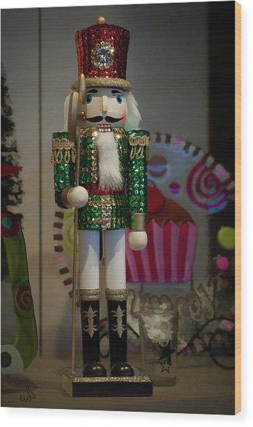 Nutcracker Christmas Deco Wood Print