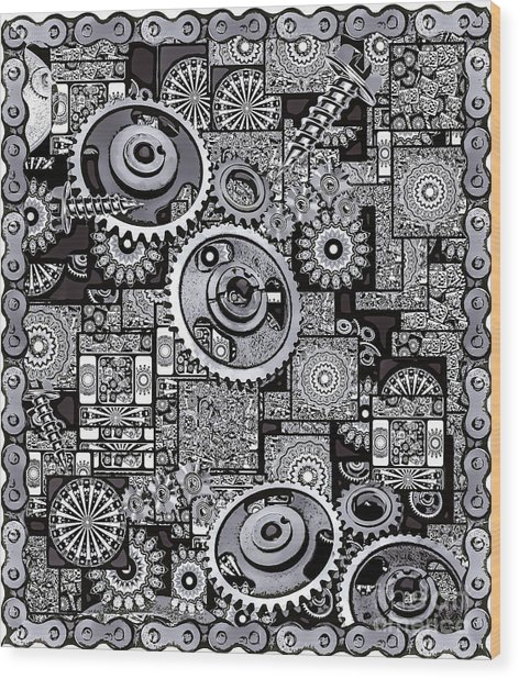 Wood Print featuring the digital art Nuts And Bolts by Eleni Mac Synodinos