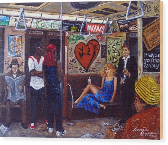 Ny City Subway In The 70 Wood Print