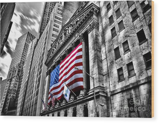 Ny Stock Exchange Wood Print by Alessandro Giorgi Art Photography