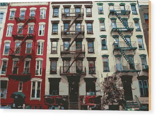 Nyc Apartment Color 16 Wood Print