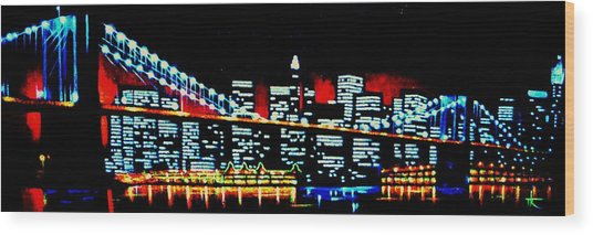 Nyc Black Light Wood Print