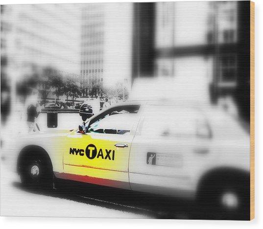 Nyc Cab Wood Print