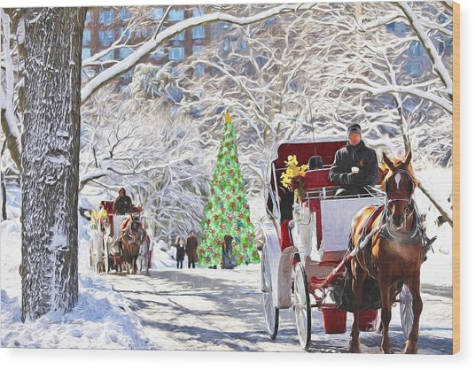 Festive Winter Carriage Rides Wood Print