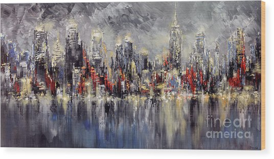 Nyc Lights Wood Print