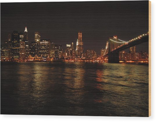 Nyc Night Wood Print by Maria Lopez