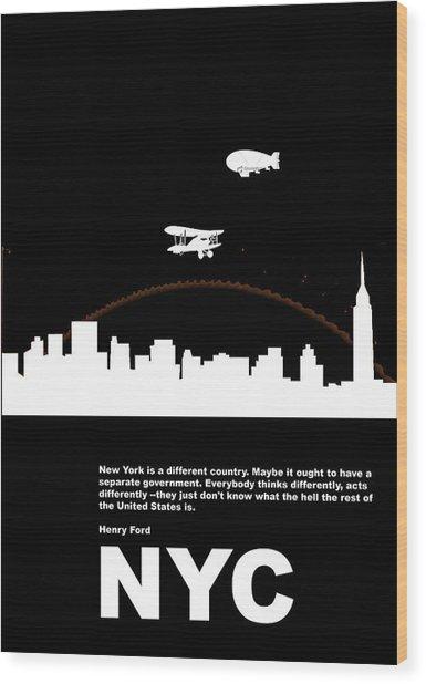 Nyc Night Poster Wood Print