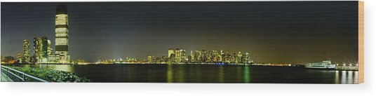 Nyc Night Skyline Panorama 1 Wood Print