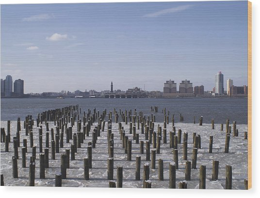 New York City Piers  Wood Print