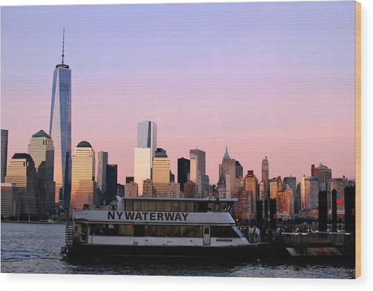 Nyc Skyline With Boat At Pier Wood Print