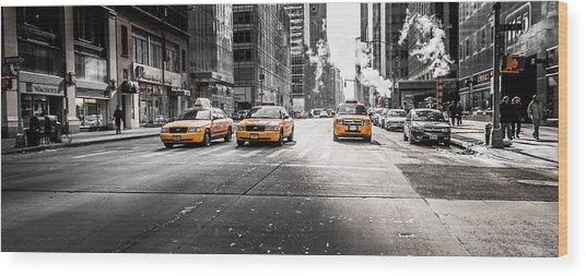 Nyc Taxi Wood Print