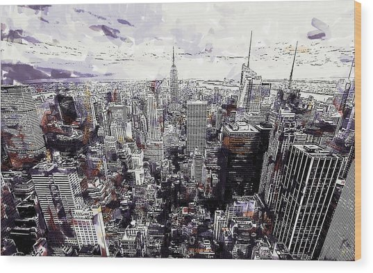 Nyc View From Rockefeller Center Wood Print