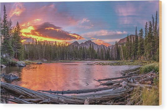 Nymph Lake Sunrise Wood Print by Robert Yone