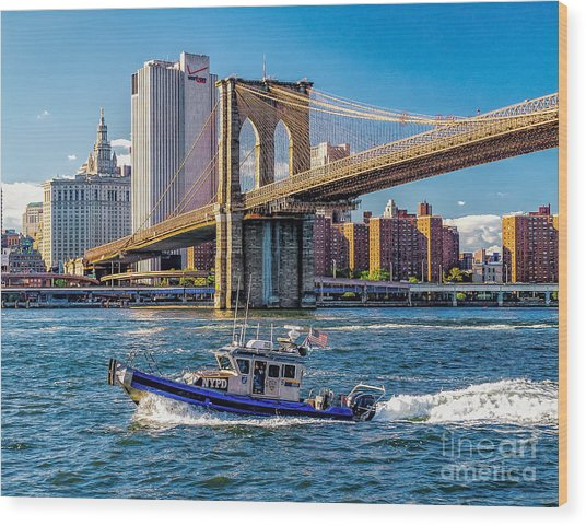 Nypd On East River Wood Print