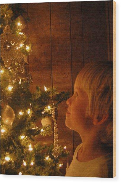 O Christmas Tree Wood Print by Deena Keller