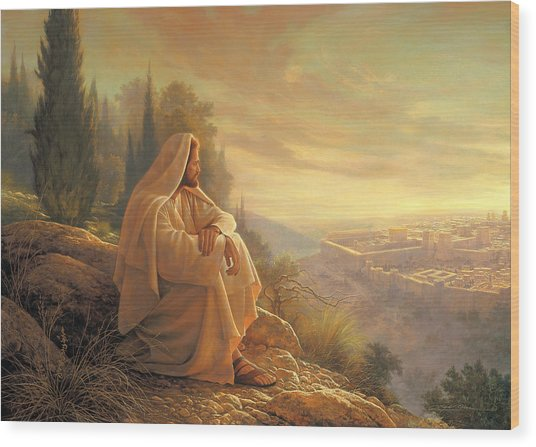 Wood Print featuring the painting O Jerusalem by Greg Olsen
