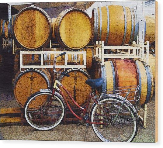Oak Barrels And Bicycle Wood Print