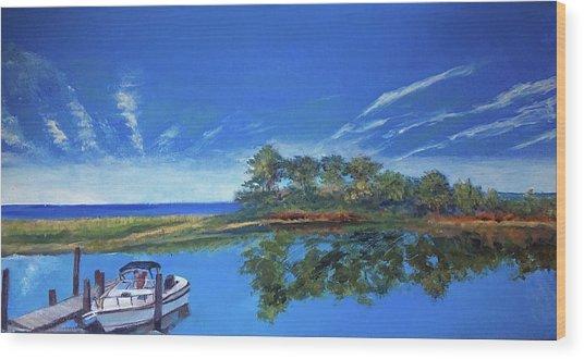 Oak Bluffs With Grady White Wood Print
