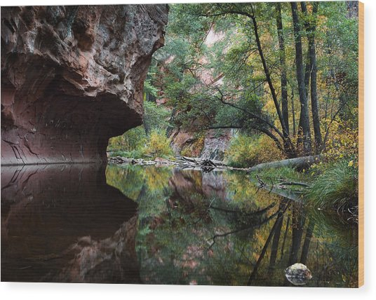 Oak Creek Canyon Reflections Wood Print