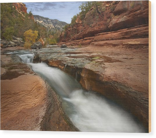 Wood Print featuring the photograph Oak Creek In Slide Rock State Park by Tim Fitzharris