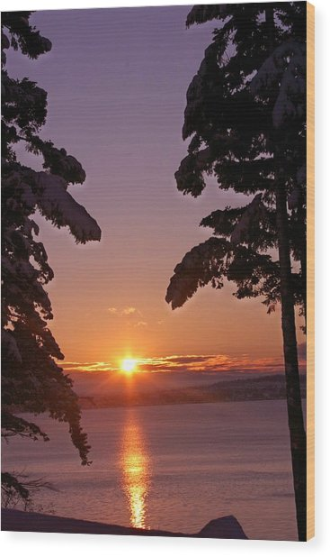 Oak Harbor Sunrise II Sr 2002 Wood Print by Mary Gaines
