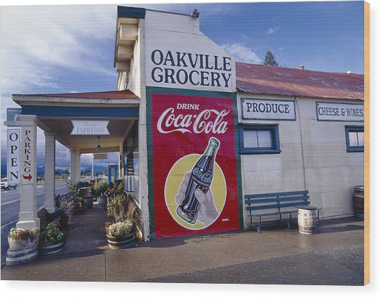 Oakville Grocery Store Napa Valley Wood Print by George Oze