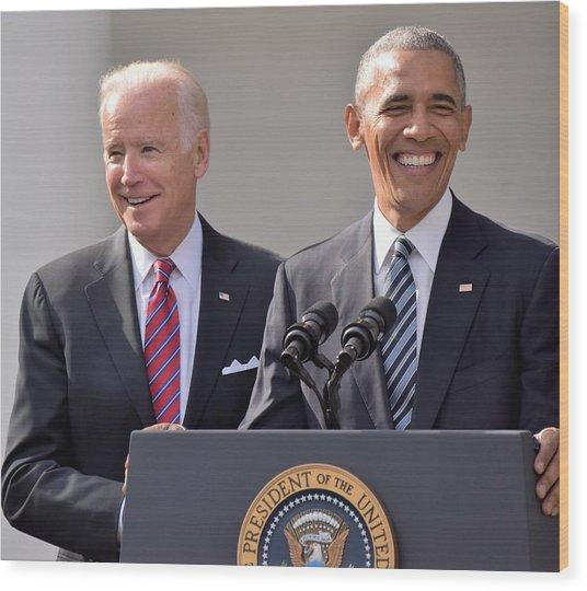 Obama And Biden Wood Print