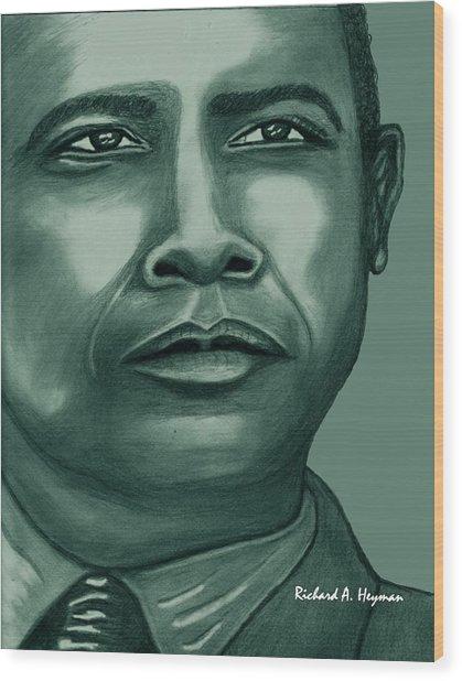 Obama In Bronze Wood Print by Richard Heyman