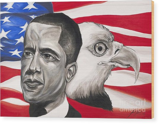 Obama Wood Print by Keith  Thurman