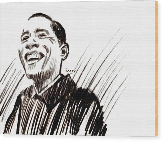 Obama Wood Print by Michael Facey
