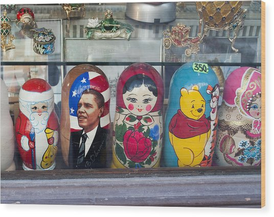 Obama Russian Doll 0183 Wood Print by Charles  Ridgway