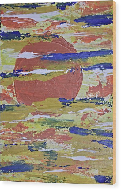 Obscure Orange Abstract Wood Print