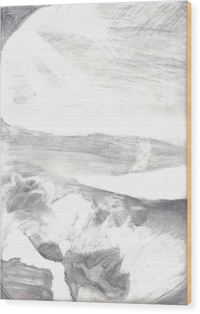 observation - Out the airplane window Wood Print by Katie Alfonsi