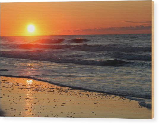 Oc Sunrise Wood Print
