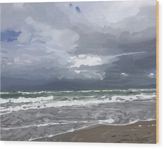 Ocean And Clouds Over Beach At Hobe Sound Wood Print