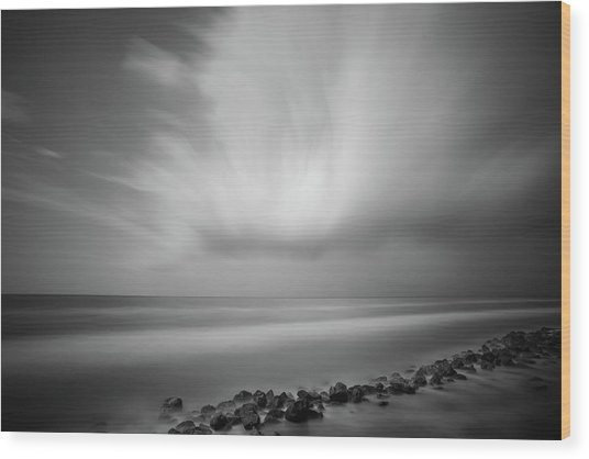 Ocean And Clouds Wood Print