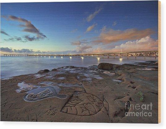 Ocean Beach Pier At Sunset, San Diego, California Wood Print