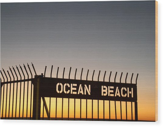 Ocean Beach Pier Gate Wood Print