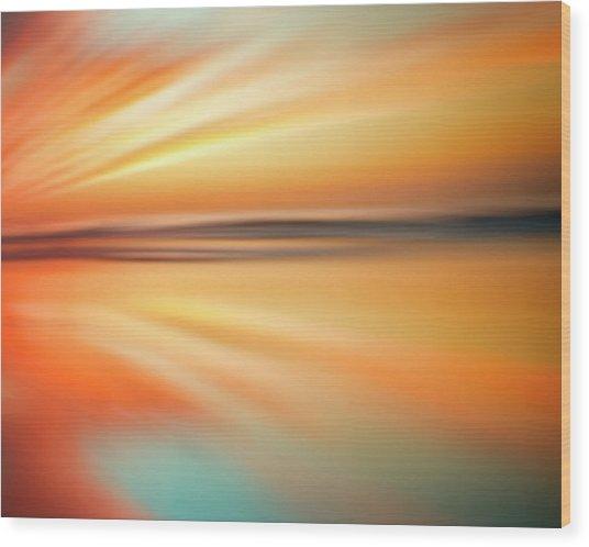 Ocean Beach Sunset Abstract Wood Print