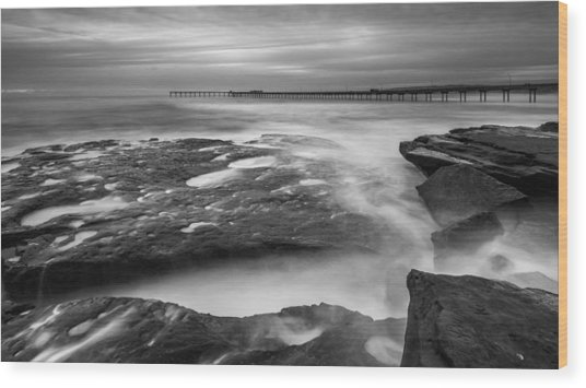 Ocean Beach Tidepools And Pier Wood Print