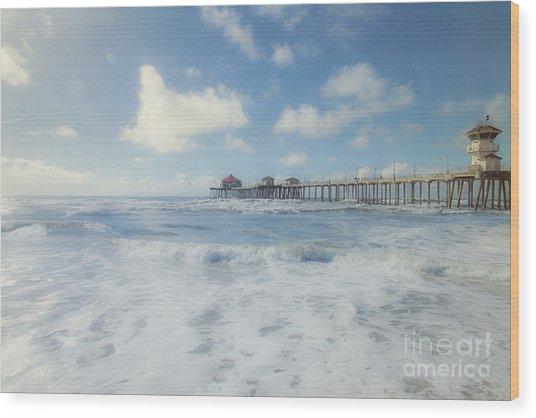 Ocean Blue At The Pier Wood Print