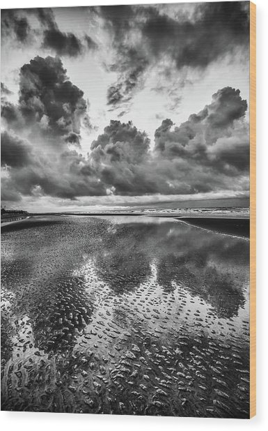 Ocean Clouds Reflection Wood Print