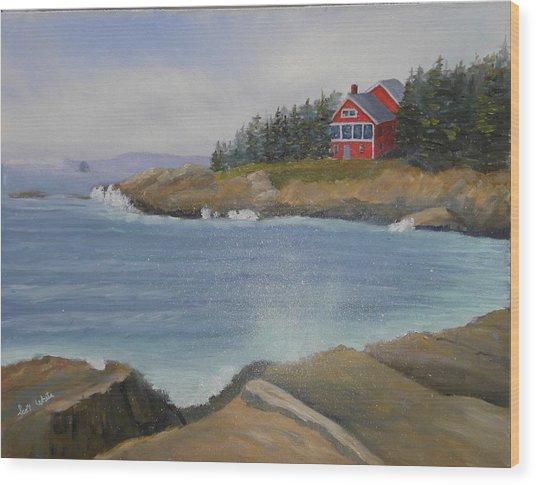 Ocean Cottage Wood Print